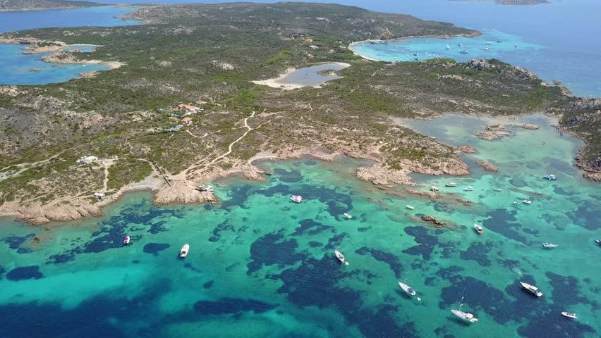 Aerial view of  Razzoli island, Santa Maria island and Budelli island, Maddalena archipelago. Sardinia