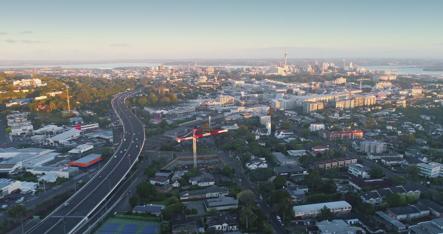 Aerial of Auckland suburb of Newmarket, motorway and Mt Eden, Auckland, New Zealand #29746978