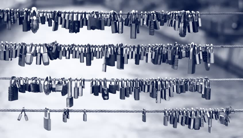 Locks on the bridge. Eternal love symbols. | Shutterstock HD Video #2975032