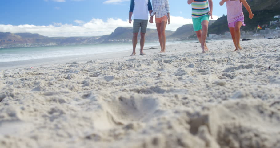 Happy family running at beach on a sunny day | Shutterstock HD Video #29764684