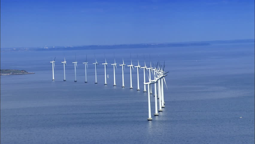 Aerial view of wind turbines at sea | Shutterstock HD Video #297682