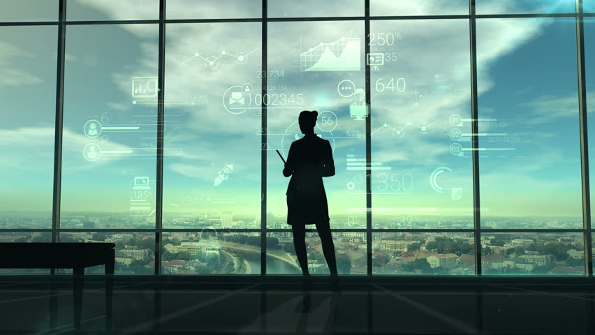 Silhouette of woman and corporate infographics   Shutterstock HD Video #29773897