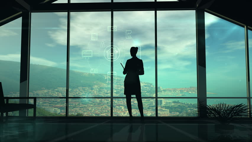 Silhouette Of Woman And IOT Infographics   Shutterstock HD Video #29773903
