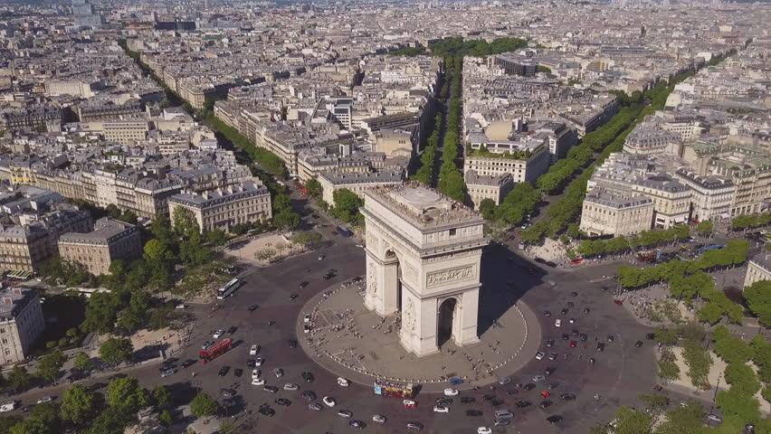 Summer day paris cityscape famous arch de triumph traffic circle aerial panorama 4k time lapse france | Shutterstock HD Video #29776369