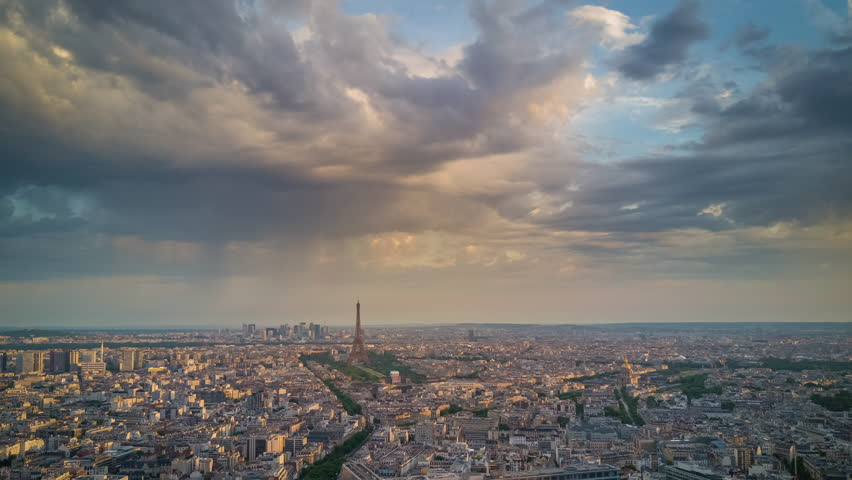 Paris city famous eiffel tower sunrise aerial cityscape panorama 4k time lapse france