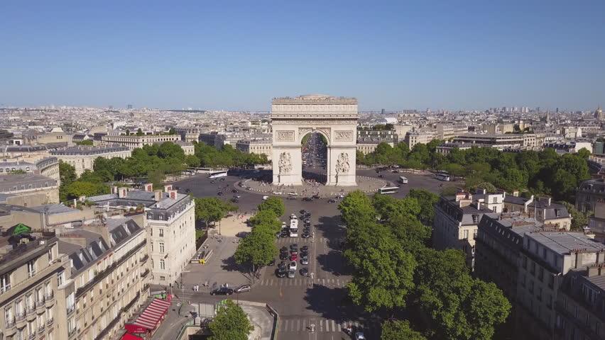 Sunny summer day paris city famous arch de triumph aerial panorama 4k time lapse france | Shutterstock HD Video #29776378