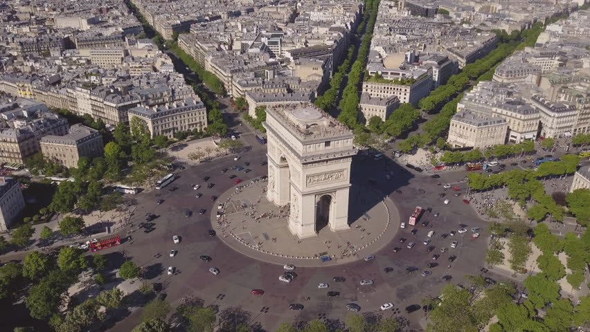 Summer day paris cityscape famous arch de triumph traffic circle aerial panorama 4k time lapse france | Shutterstock HD Video #29776381