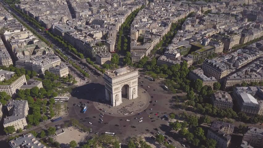 Summer day paris cityscape famous arch de triumph traffic circle aerial panorama 4k time lapse france