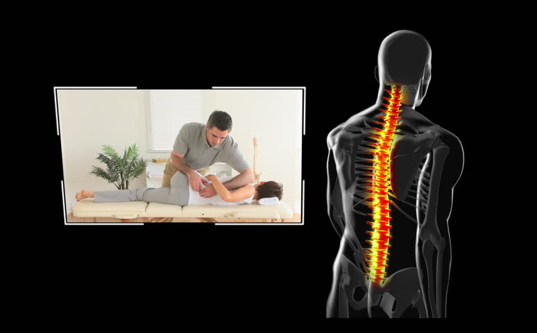 Clips of woman getting physiotherapy on balck digital background with walking skeleton