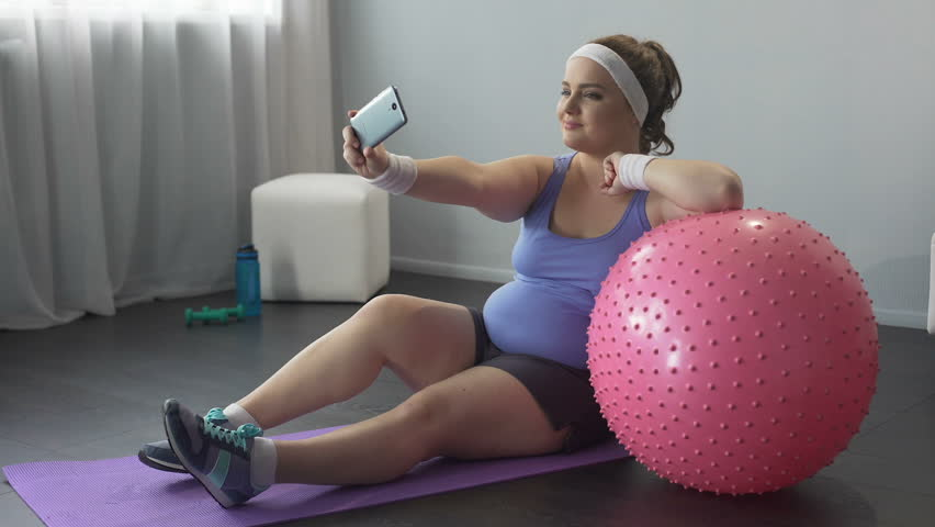 chubby girl working out