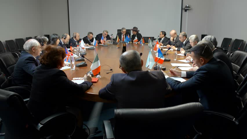International negotiations for a round table. Statesman or politicians are seriously discussing the problem of ecology Royalty-Free Stock Footage #29809909