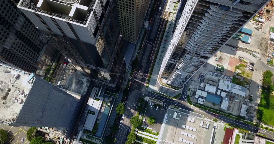 Aerial drone footage of the skyscrapers in Downtown Singapore. The Downtown Core is the historical and downtown epicenter of the city-state of Singapore. | Shutterstock HD Video #29816572