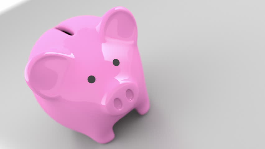 Animated three dimensional piggy bank jumping around along with paper dollar currency jumping straight into the bank. | Shutterstock HD Video #2981782