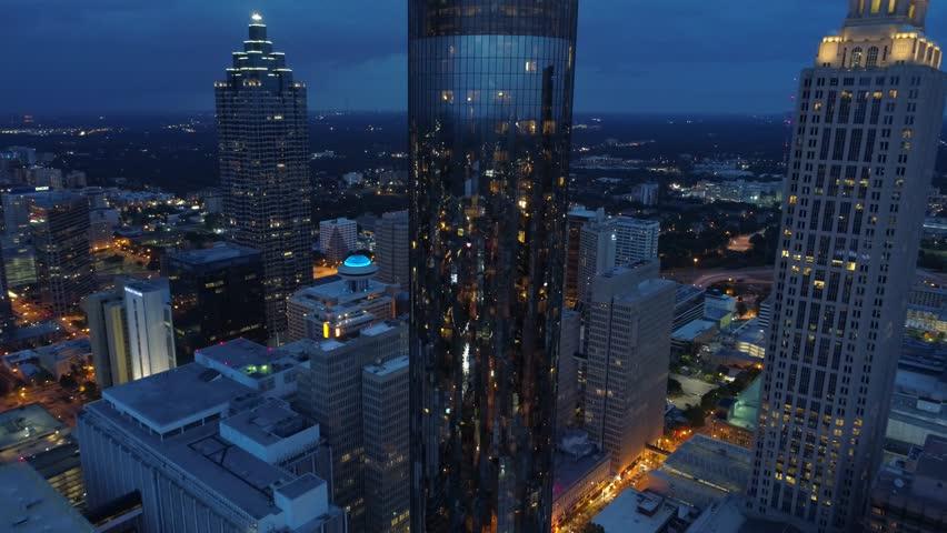 ATLANTA, GA, USA - AUGUST 3, 2017: Aerial drone reveal The Westin Peachtree Plaza Atlanta
