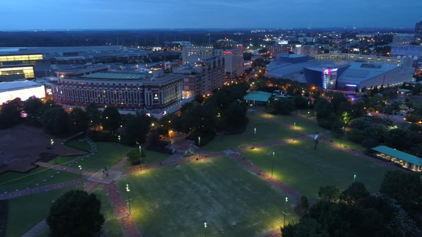 ATLANTA, GA, USA - AUGUST 3, 2017: Aerial drone video Georgia Aquarium at night 4k