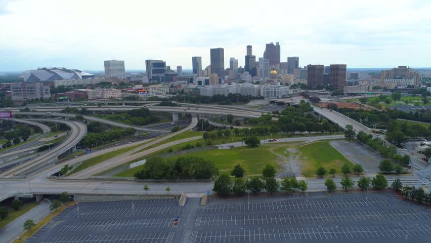 ATLANTA, GA, USA - AUGUST 4, 2017: Establishing shot Atlanta Georgia aerial and the Mercedes Benz Stadium