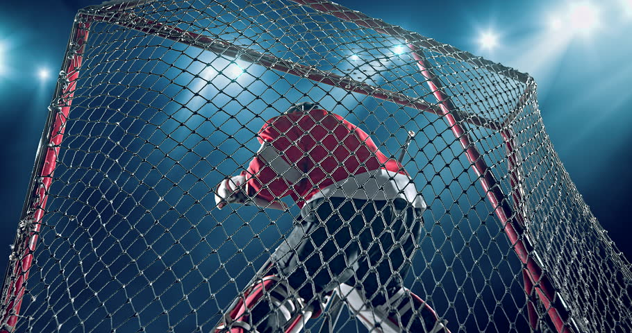 Ice Hockey goalie fails a goal on a dark background with intensional lens flares. He is wearing unbranded sports clothes.