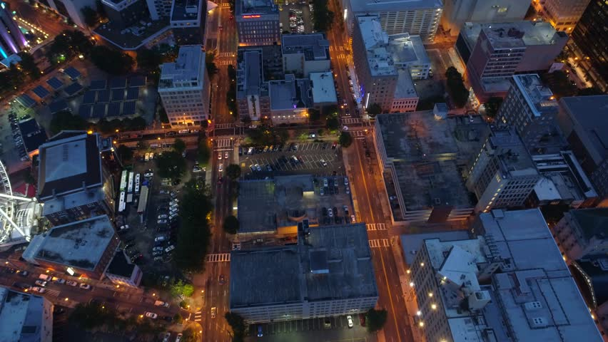 ATLANTA, GA, USA - AUGUST 4, 2017: Aerial shot of Drone flying over Atlanta GA