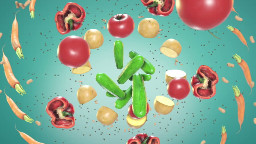 The Food In Motion motion graphic is a great high quality animation of food flying in the air. This video will work great in cooking shows or any food themed project.