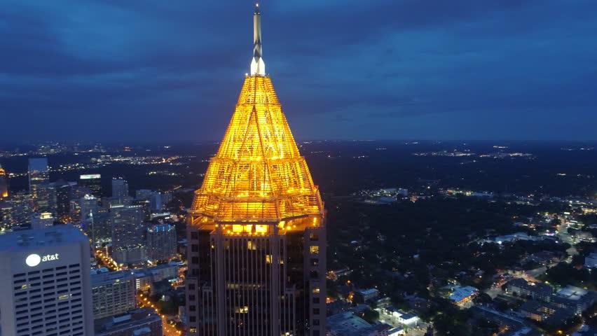 ATLANTA, GA, USA - AUGUST 3, 2017: Aerial night video of Bank of America Financial Center Downtown Atlanta