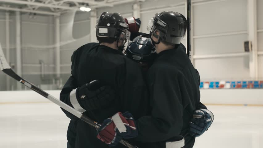 Ice Hockey Players Celebrating goal on ice, clean arena, canadian team wins | Shutterstock HD Video #29888746