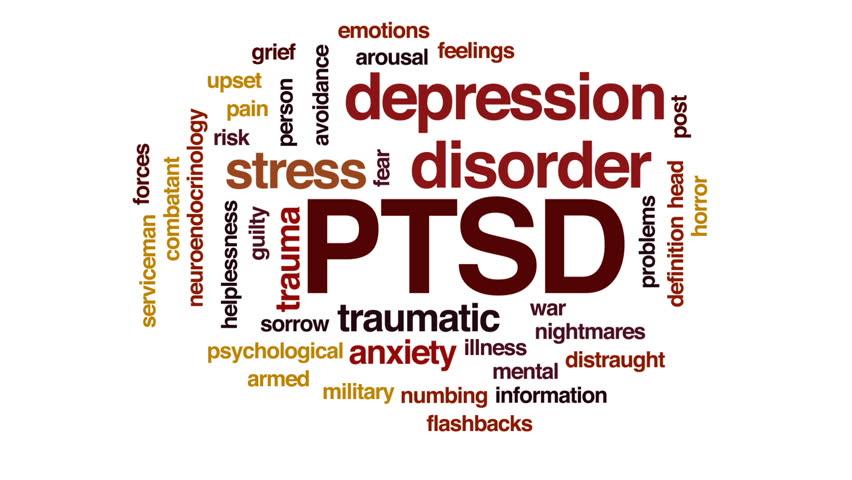 PTSD animated word cloud, text design animation.