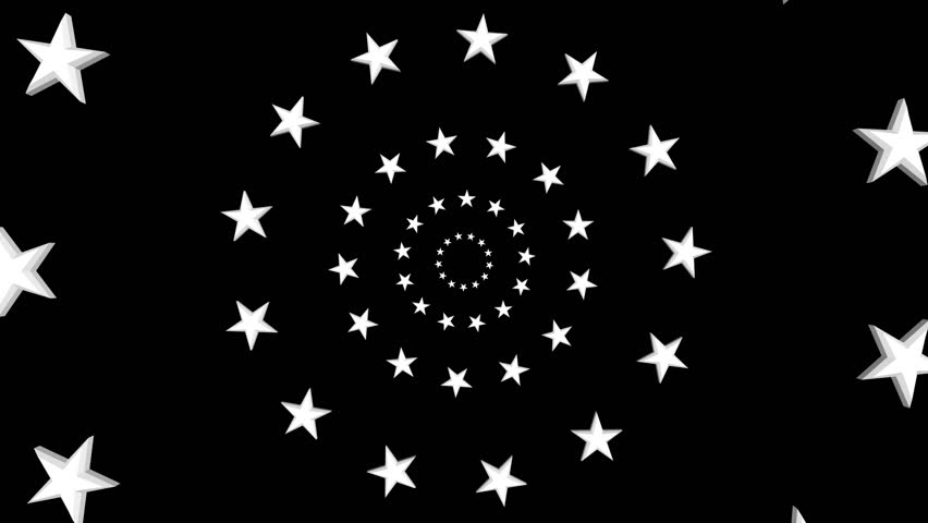 Into Circles of Stars with Any Background. Rendered with an alpha channel. Thirteen stars in circles slowly spin in and pass by in a continuous 4K loop.  One star for each of the original colonies.