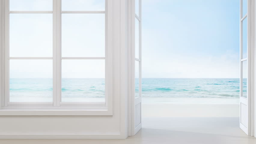 Sea view room with window and door in modern beach house, Luxury white interior of summer home - 3D rendering