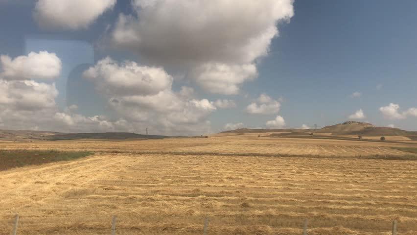 Fast train side window view