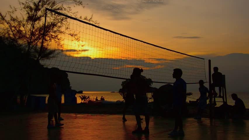 beach volleyball on sunset