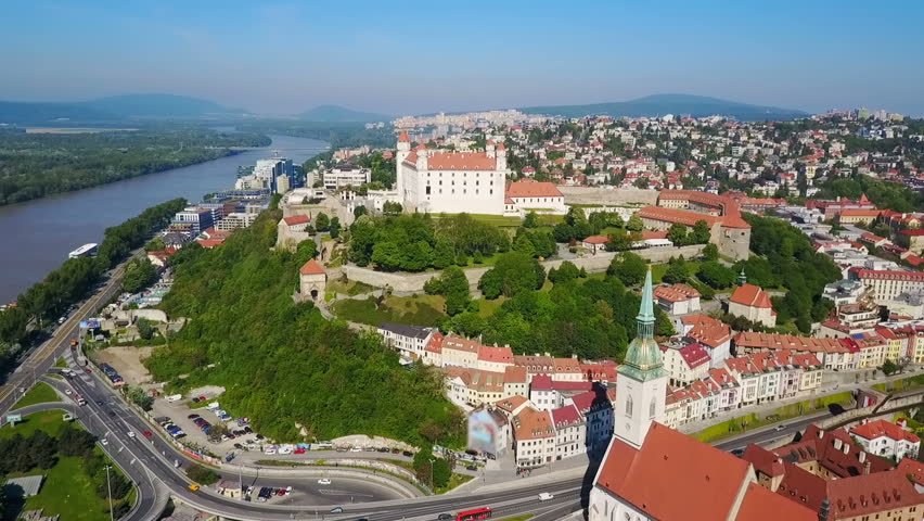 Bratislava Castle or Bratislavsky Hrad aerial panoramic view. Bratislava Castle is the main castle of Bratislava, capital of Slovakia. | Shutterstock HD Video #29969836