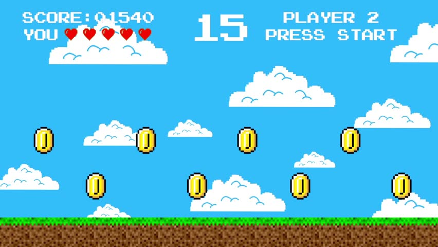 Trail of Golden Coins in a Arcade Video Game