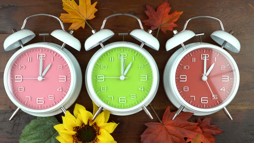 Turning the clocks back one hour for Autumn Fall daylight saving time, time lapse. Royalty-Free Stock Footage #29976706
