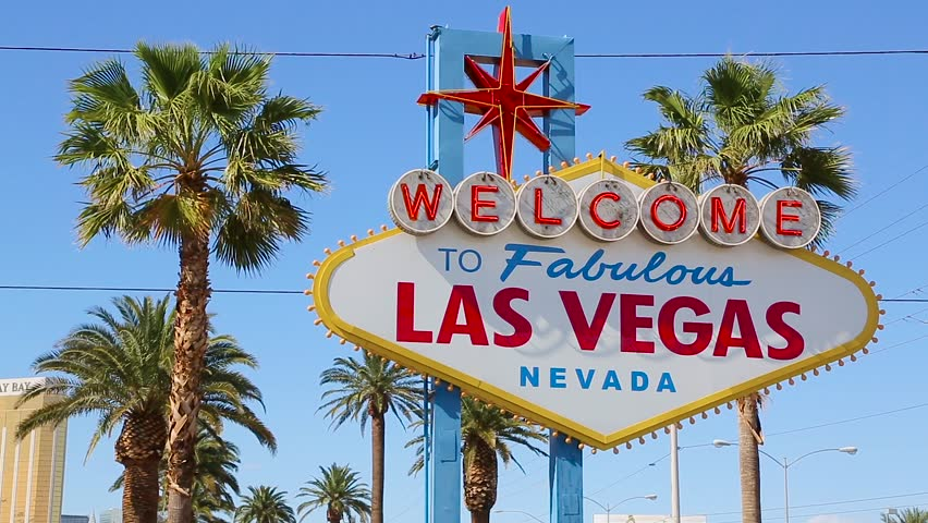 Welcome to Las Vegas sign. Welcome to Fabulous Las Vegas sign by day, Nevada. Welcome to Las Vegas, street sign in blue sky. Welcome sign at the start of the famous Las Vegas Strip. | Shutterstock HD Video #30001327