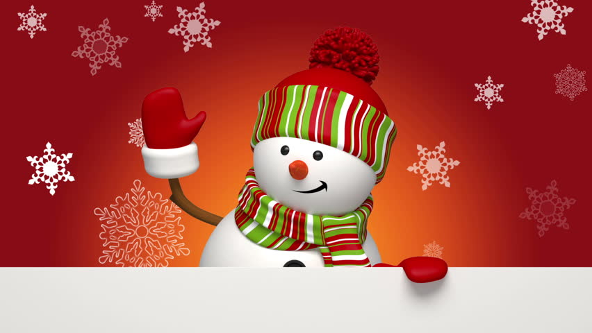 Christmas cartoon snowman isolated on red background, festive salutation, greeting card template, animated character, falling snowflakes, blank space for text