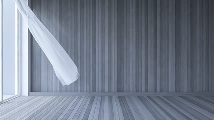 3ds rendered footage of blowing blind in blank room , White fabric curtains being blown by wind from the sea, dark gray wooden wall and white wooden floor. Cinemagraph style