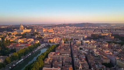 rome aerial view flying to st peter's church at sunrise cut one
