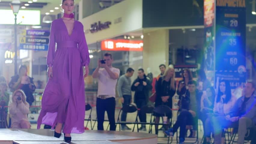 Kherson, Ukraine 22 Apr. 2017: Fashion Weekend in Fabrika Mall Professional model on high heels into dresses on catwalk in Kherson, 22 Apr. 2017. | Shutterstock HD Video #30067279