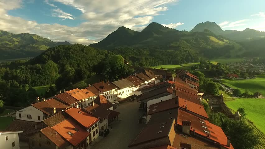 Beautiful view of the medieval town of Gruyeres, home to the world-famous Le Gruyere cheese, canton of Fribourg, Switzerland   Shutterstock HD Video #30072559
