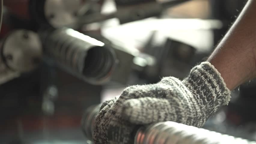 Hand Pressing On A Cut Aluminum Duct Pipe | Shutterstock HD Video #30078457