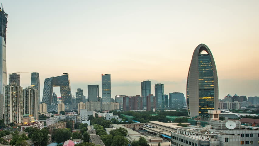 T/L WS Beijing downtown cityscape from day to night.   Shutterstock HD Video #30092296