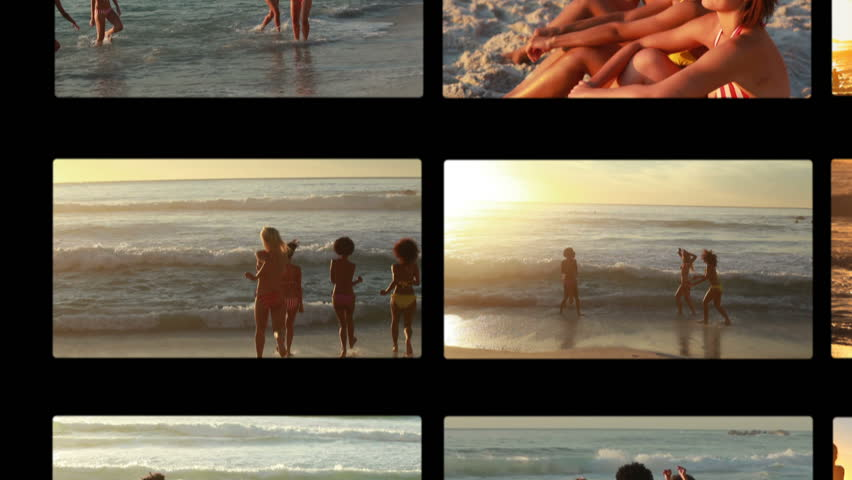 Animation of female friends enjoying the beach at sunset