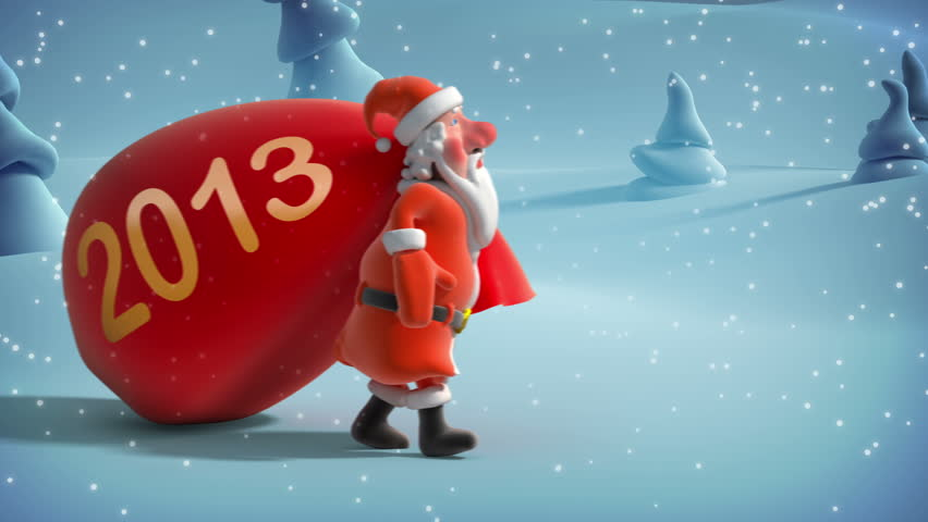 Santa Claus with big bag. 3d animation.