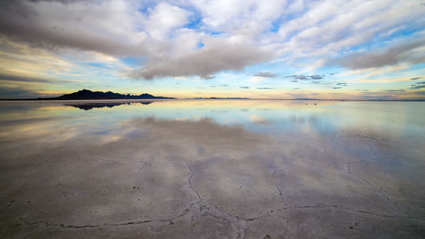 Time lapse reflection over Bonneville Salt Flats at sunset in Utah.