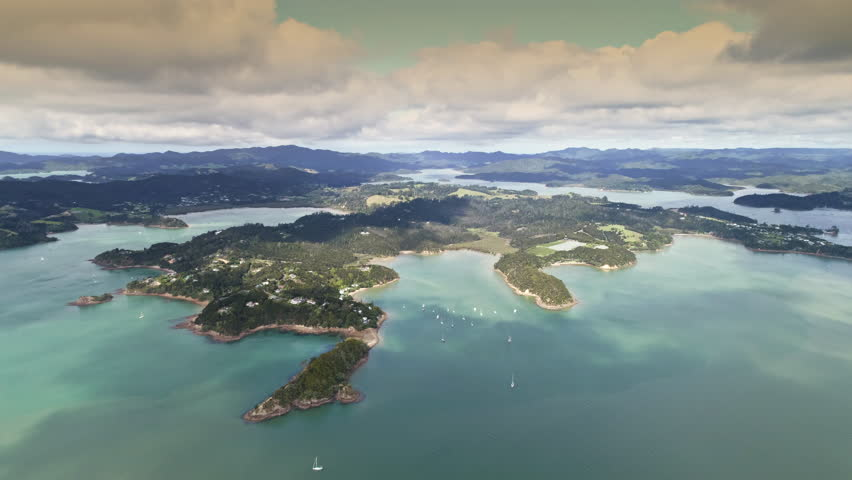 Aerial view of New Zealand islands - Bay of Islands, Paihia | Shutterstock HD Video #30119890