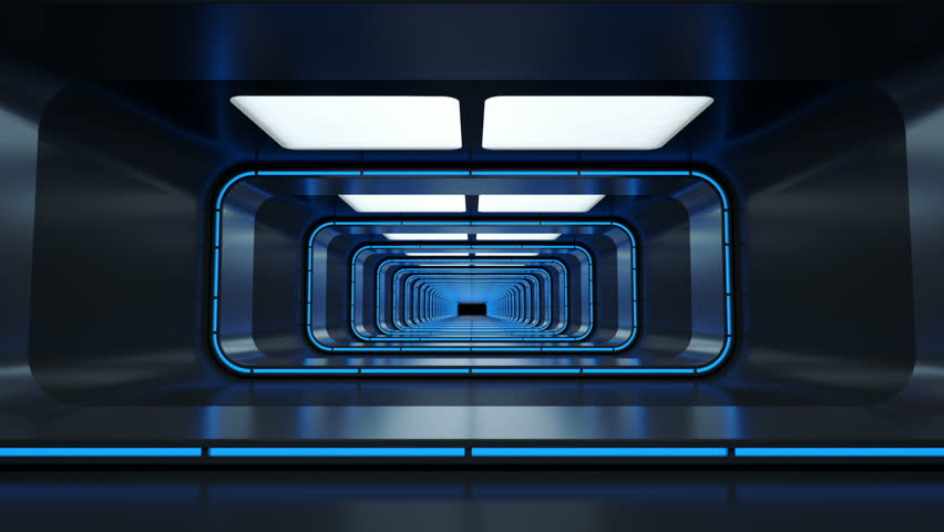 Spaceship corridor. Futuristic tunnel with light, interior view. Future background, business, sci-fi or science concept. 3d rendering. | Shutterstock HD Video #30122599