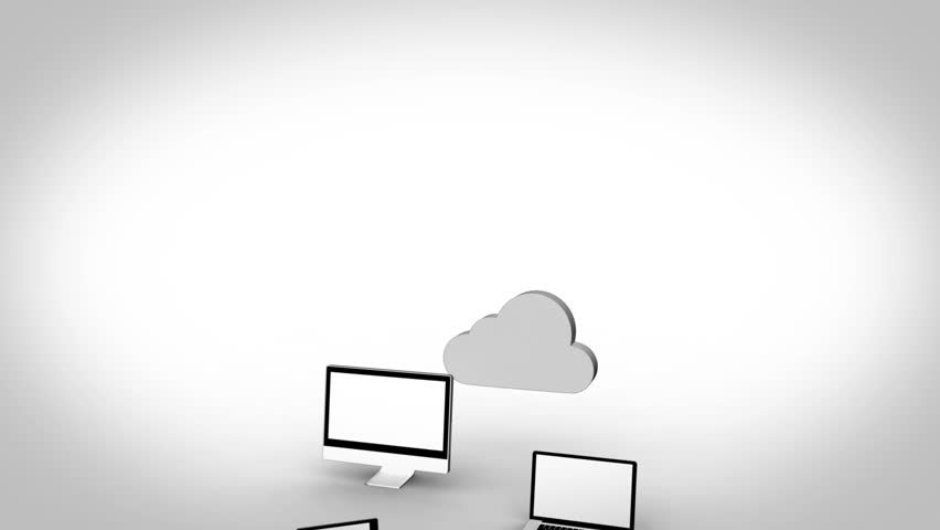 Animation with multiple devices connected to a cloud | Shutterstock HD Video #3013666