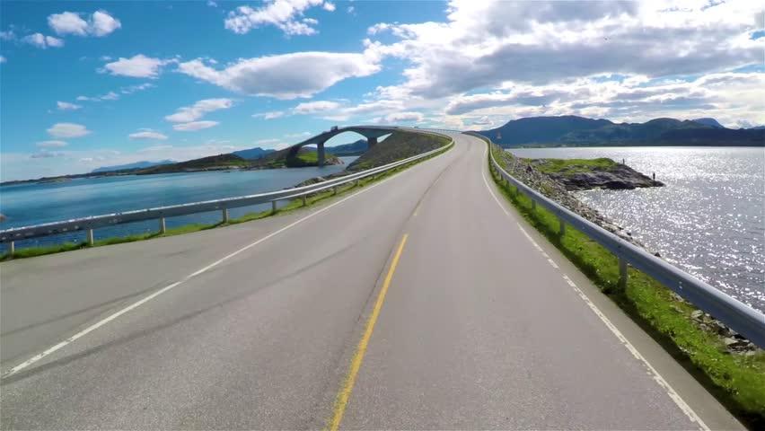 Driving a Car on a Road in Norway. Atlantic Ocean Road or the Atlantic Road (Atlanterhavsveien).