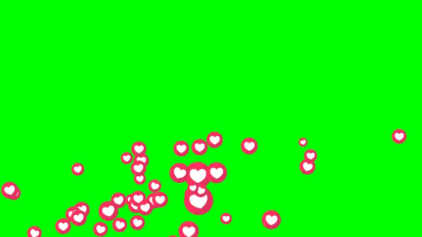 social love heart icon symbol animation across on green screen #30175315