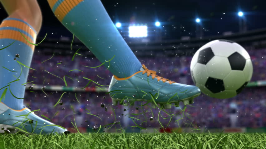 Shooting on goal in slow motion, beautiful 3d animation, Full HD 1080